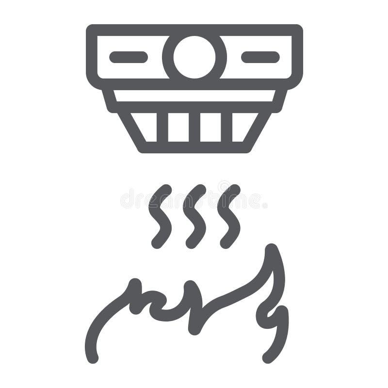 Línea icono del detector de incendios, alarma y equipo, muestra del detector de humo, gráficos de vector, un modelo linear en un  ilustración del vector