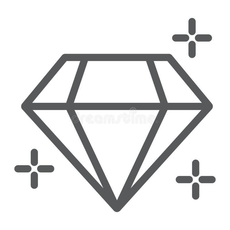 Línea icono del diamante, joyería y accesorio, muestra brillante, gráficos de vector, un modelo linear en un fondo blanco stock de ilustración