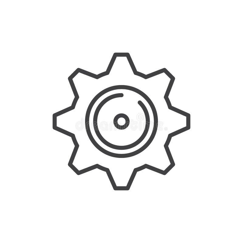 Línea icono del diente del ajuste ilustración del vector