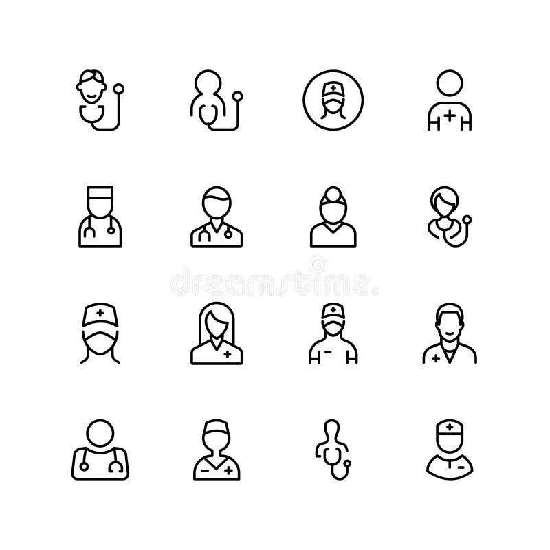 Línea icono del doctor libre illustration