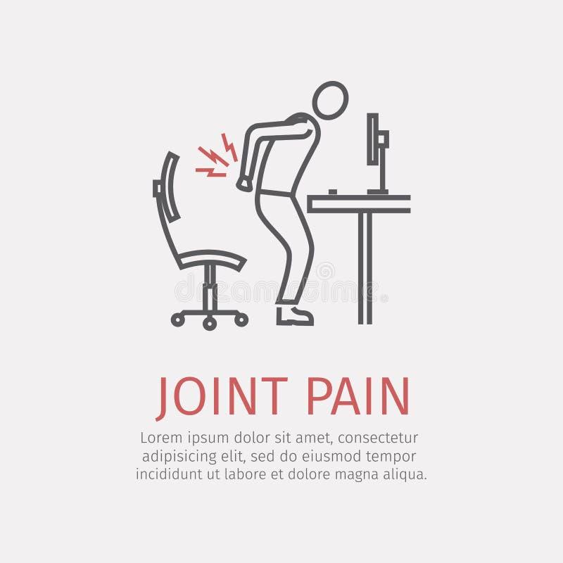 Línea icono del dolor común ilustración del vector