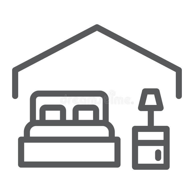 Línea icono del dormitorio, hotel y sueño, muestra de la cama, gráficos de vector, un modelo linear en un fondo blanco ilustración del vector