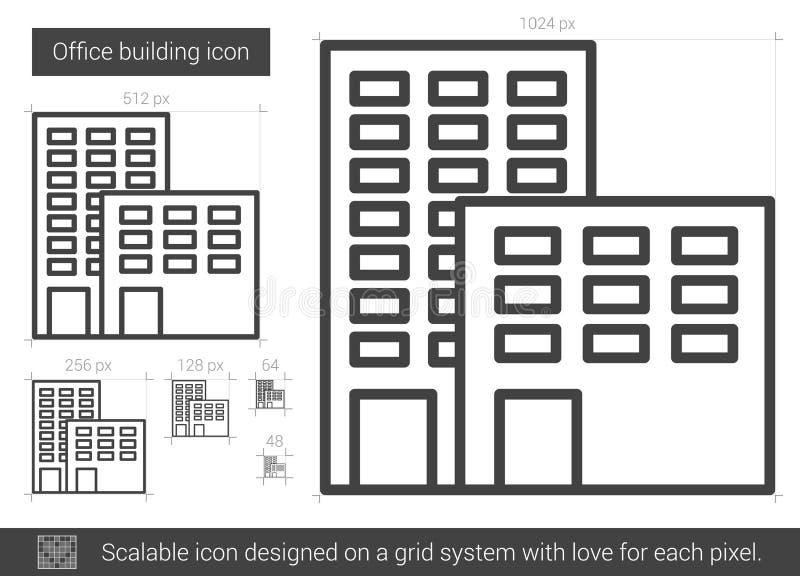 Línea icono del edificio de oficinas stock de ilustración