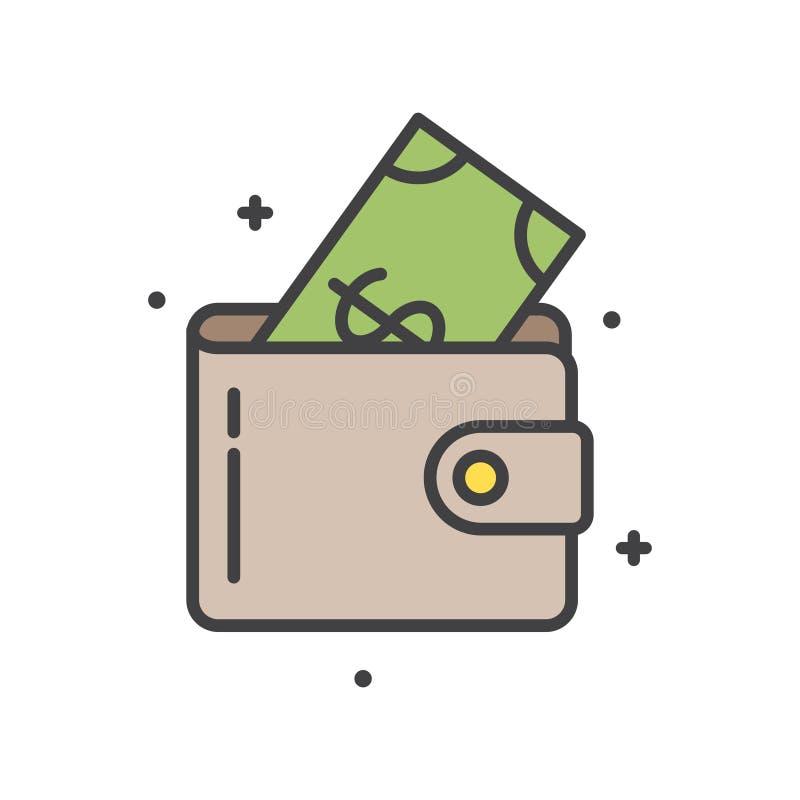 Línea icono del efectivo de la cartera en el fondo blanco para el gráfico y el diseño web, muestra simple moderna del vector Conc ilustración del vector