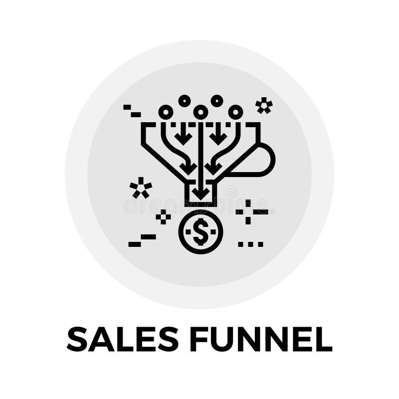 Línea icono del embudo de las ventas stock de ilustración