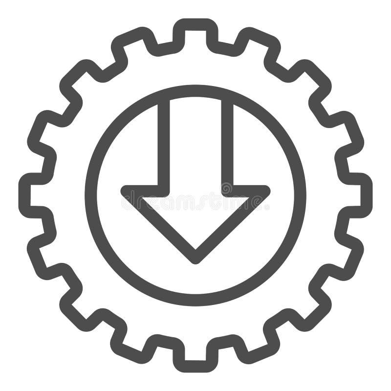 Línea icono del engranaje y de la flecha Ejemplo del vector del mecánico aislado en blanco Diseño del estilo del esquema de la te ilustración del vector