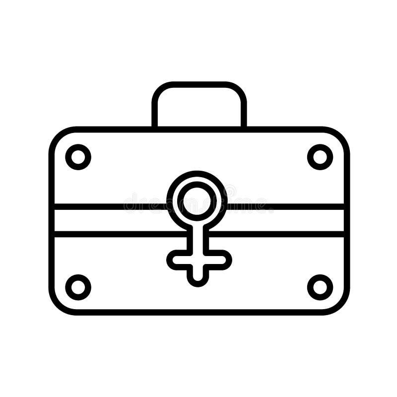 Línea icono del equipo del maquillaje Ejemplo del vector del caso del ` s de las mujeres aislado en blanco Diseño del estilo del  ilustración del vector