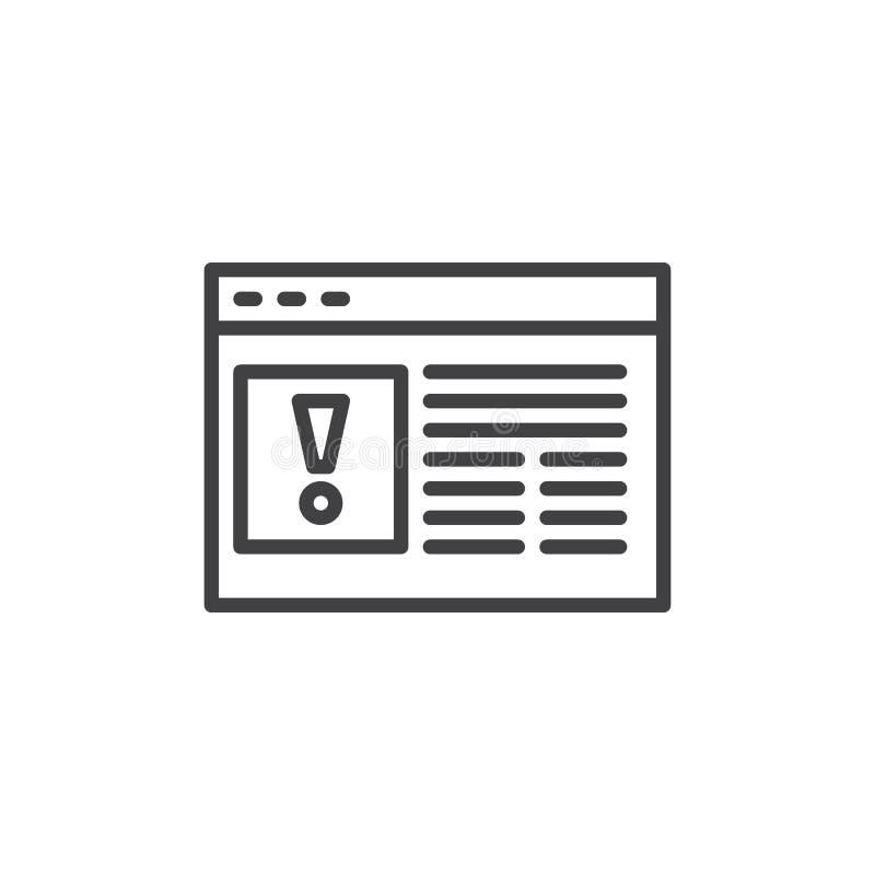 Línea icono del error de la página web ilustración del vector