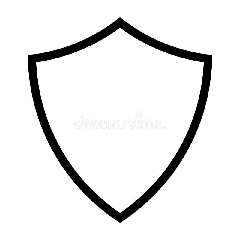 Línea icono del escudo ilustración del vector