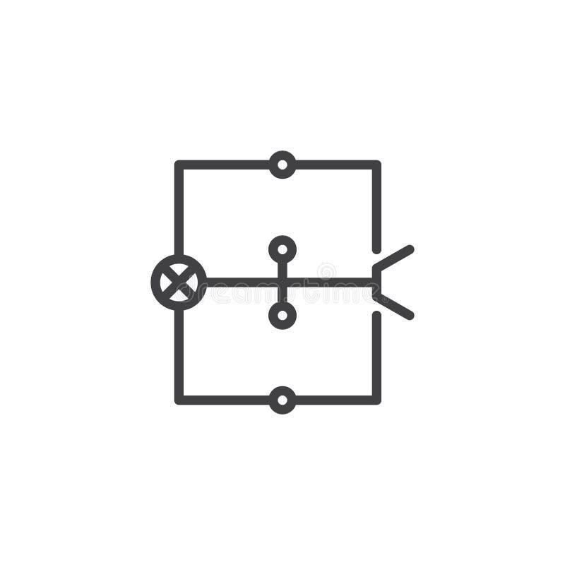 Línea icono del esquema eléctrico ilustración del vector