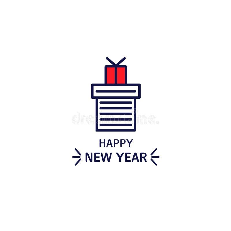 Línea icono del estilo de regalos con el texto Elemento para la postal de la celebración del diseño libre illustration