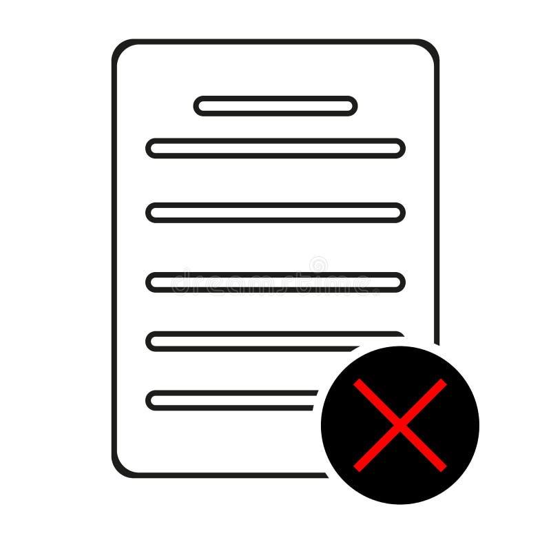 Línea icono del fichero del rechazo Muestra del documento de la disminución Fichero de la cancelación Elemento plano del app del  stock de ilustración