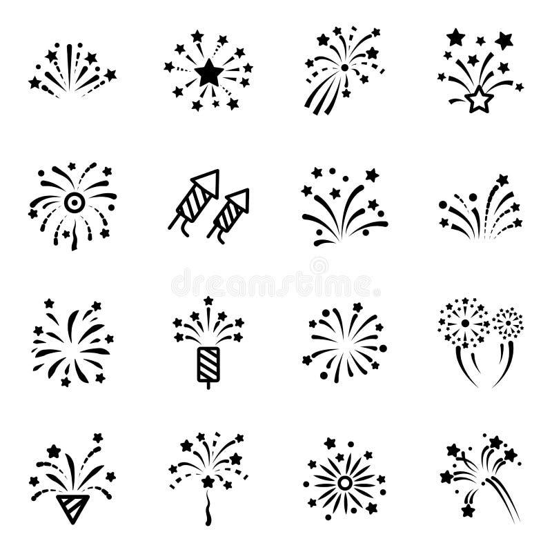 Línea icono del fuego artificial stock de ilustración