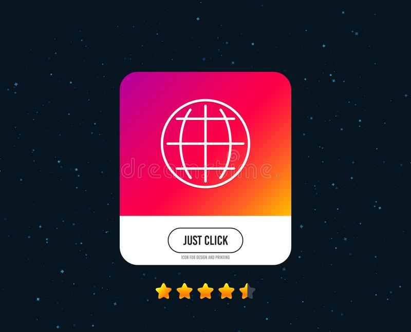 Línea icono del globo Muestra del mundo o de la tierra Vector ilustración del vector