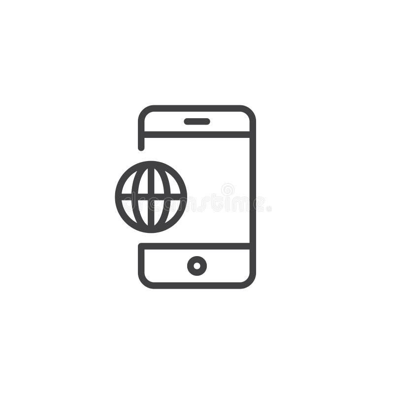 Línea icono del globo del mundo del teléfono stock de ilustración