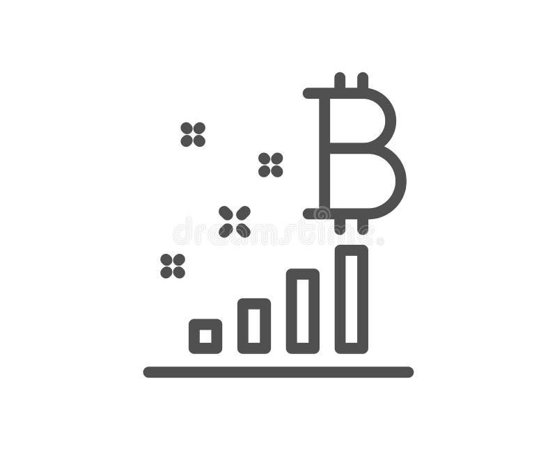 Línea icono del gráfico de Bitcoin Muestra del analytics de Cryptocurrency Vector stock de ilustración