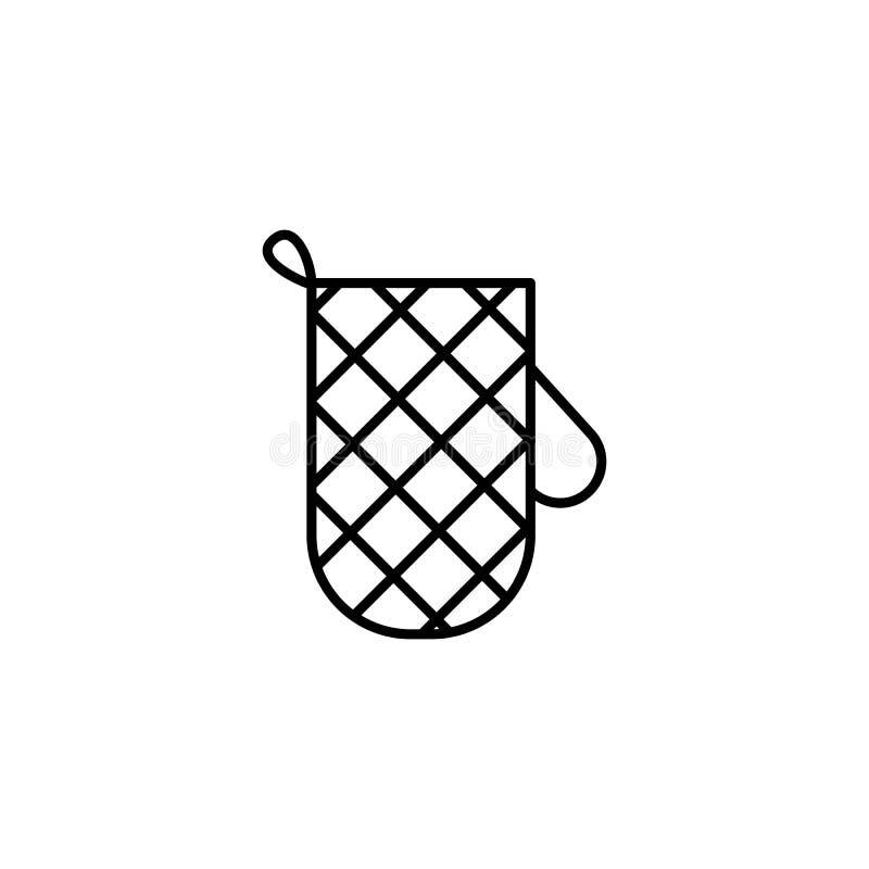 Línea icono del guante de la cocina en el fondo blanco stock de ilustración