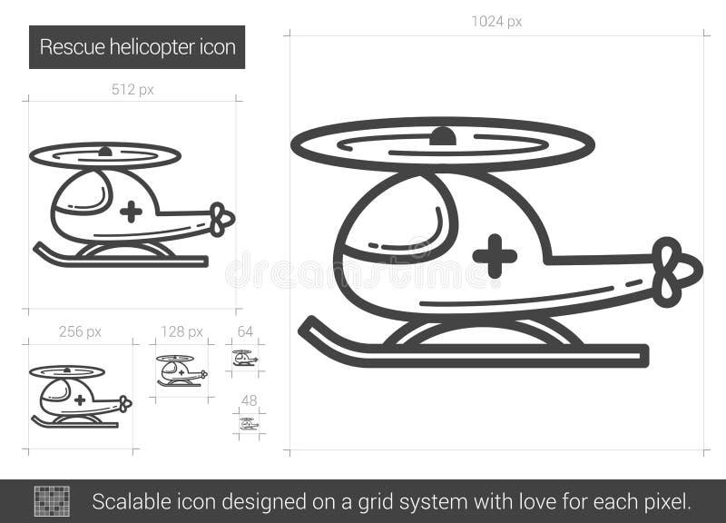 Línea icono del helicóptero del rescate stock de ilustración