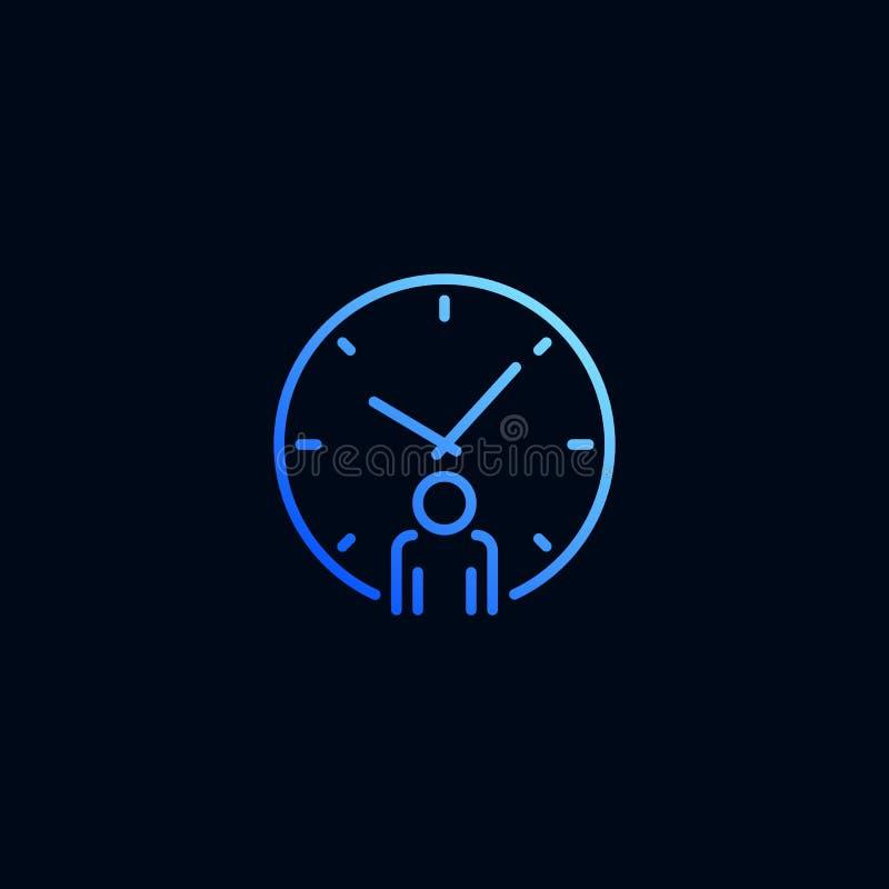 Línea icono del hombre y del reloj de negocios Ejemplo del vector en estilo linear ilustración del vector
