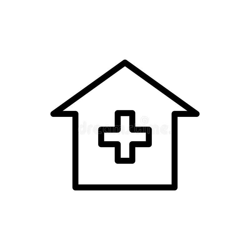 Línea icono del hospital stock de ilustración