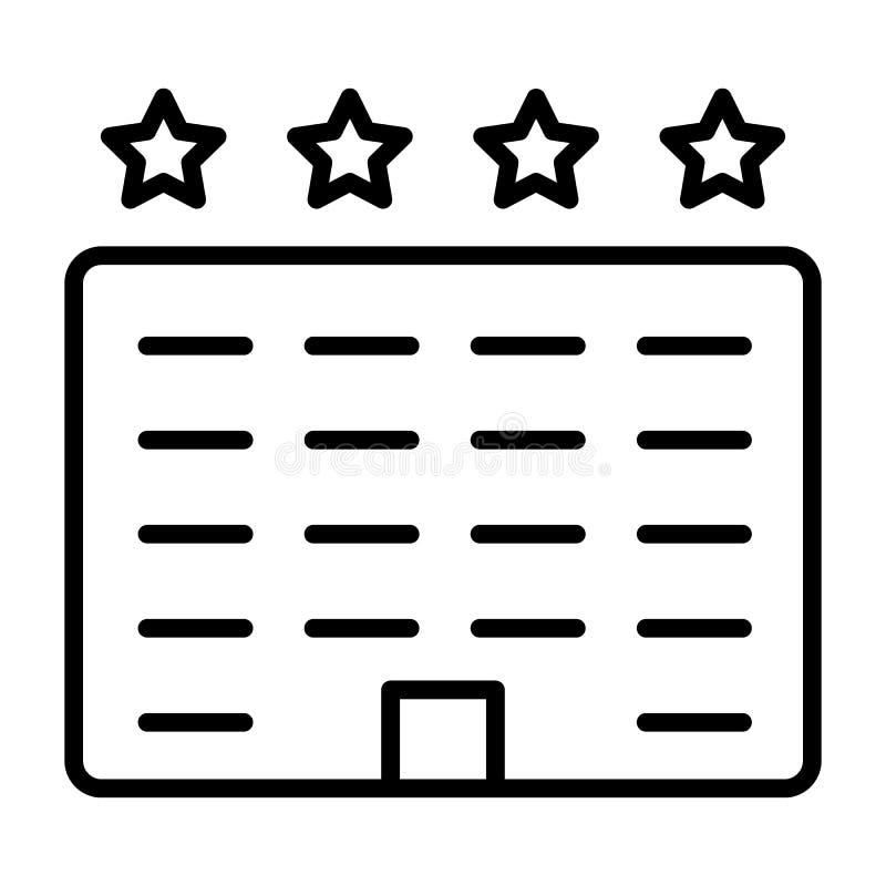 Línea icono del hotel Pictograma mínimo simple 96x96 del vector libre illustration