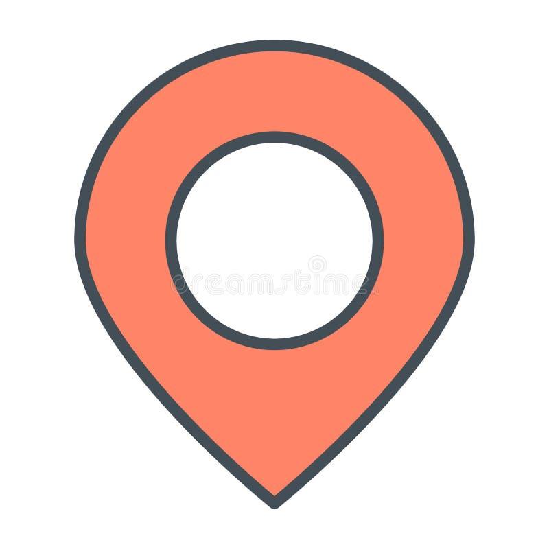 Línea icono del indicador de la ubicación Pictograma mínimo simple 96x96 del vector stock de ilustración