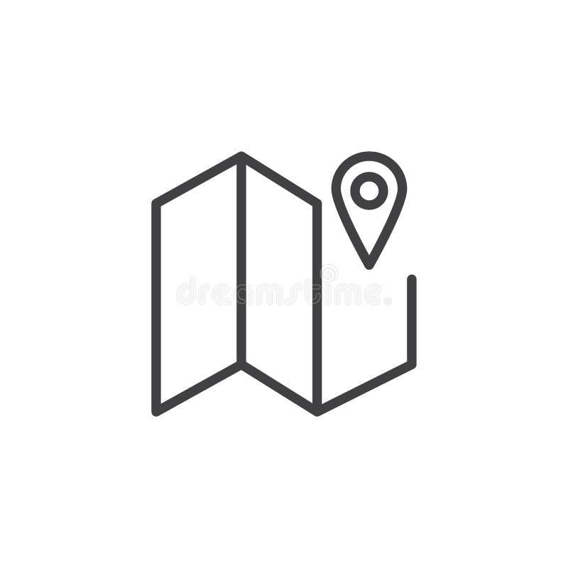 Línea icono del indicador del mapa y del camino stock de ilustración