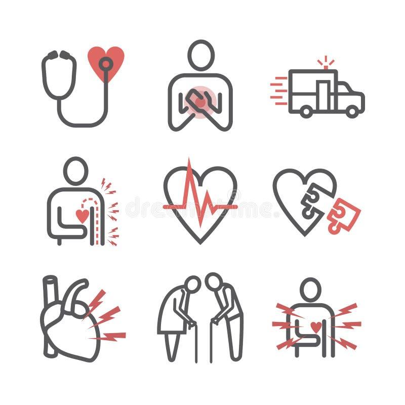 Línea icono del infarto del miocardio Síntomas, tratamiento Muestras del vector stock de ilustración