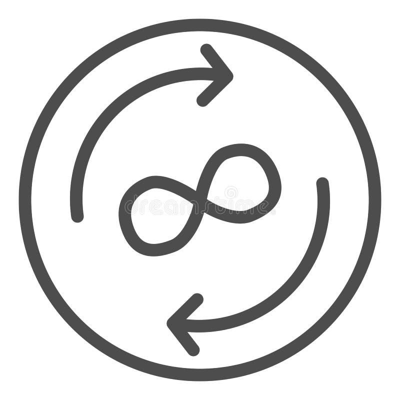 Línea icono del intercambio del infinito Flechas y ejemplo del vector del símbolo del infinito aislado en blanco Esquema de las stock de ilustración