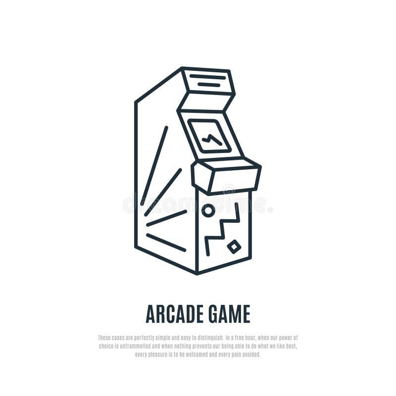 Línea icono del juego de arcada Símbolo de la máquina de la arcada stock de ilustración