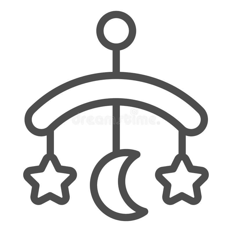 Línea icono del juguete del pesebre del bebé Ejemplo colgante del vector del juguete aislado en blanco Diseño del estilo del esqu stock de ilustración