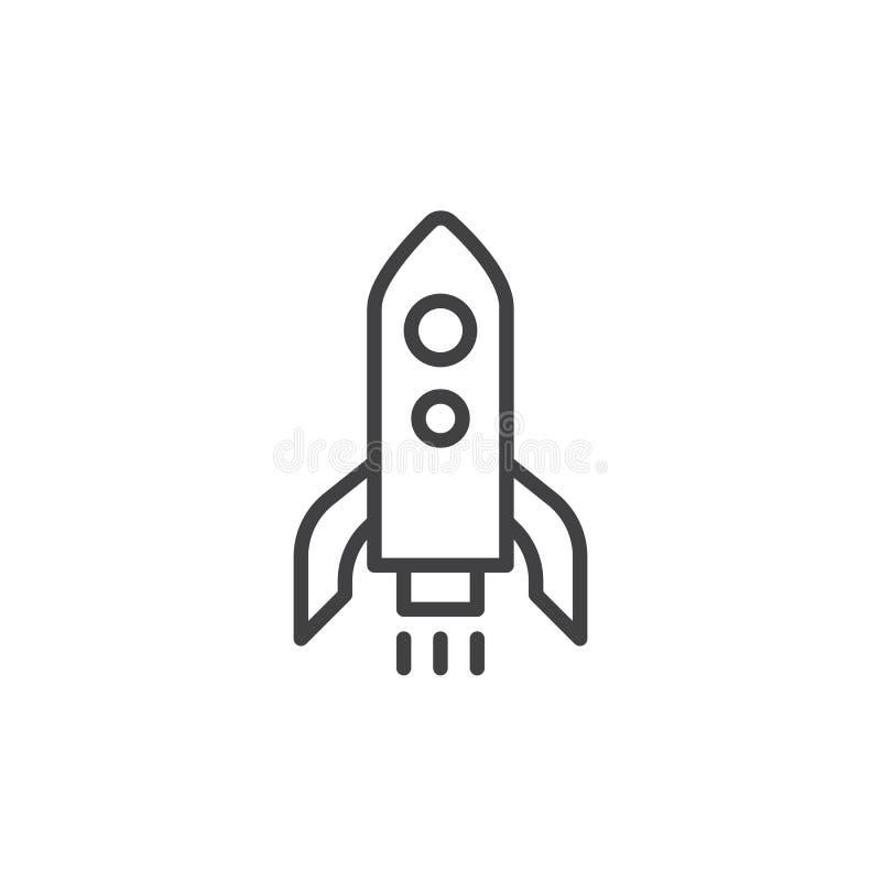 Línea icono del lanzamiento de Rocket ilustración del vector
