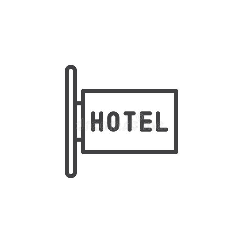 Línea icono del letrero del hotel stock de ilustración