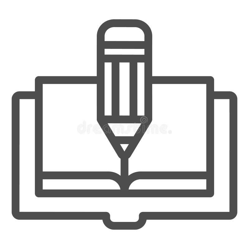Línea icono del libro y del lápiz El libro corrige el ejemplo del vector aislado en blanco Diseño del estilo del esquema del cono stock de ilustración