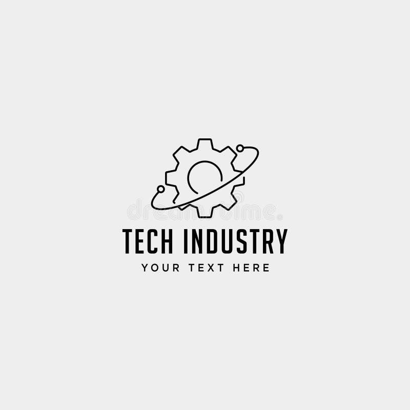 línea icono del logotipo de la conexión del engranaje del vector de la industria de la tecnología de diseño del arte ilustración del vector
