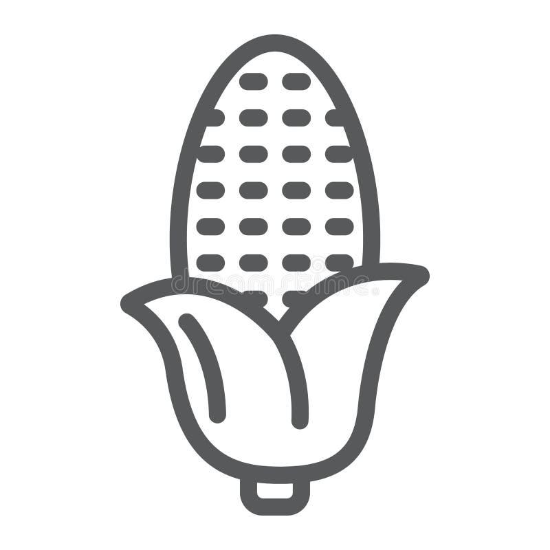 Línea icono del maíz, mazorca de maíz y verdura, muestra de la planta, gráficos de vector, un modelo linear en un fondo blanco stock de ilustración