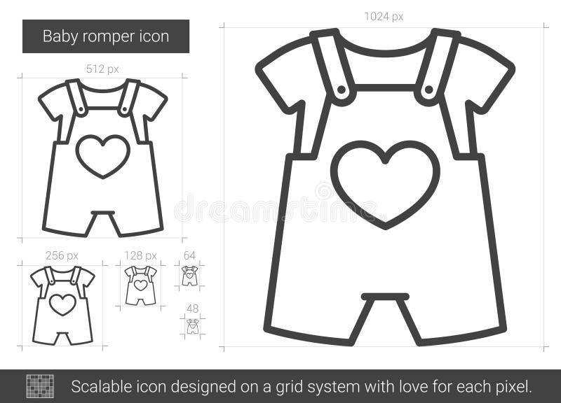 Línea icono del mameluco del bebé stock de ilustración