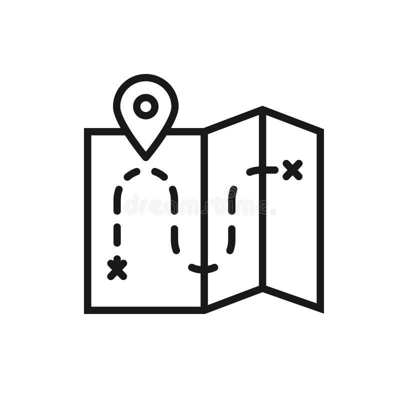 Línea icono del mapa Muestra y símbolo de la ubicación stock de ilustración