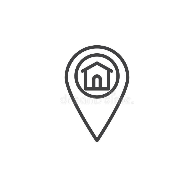 Línea icono del marcador de la ubicación casera ilustración del vector