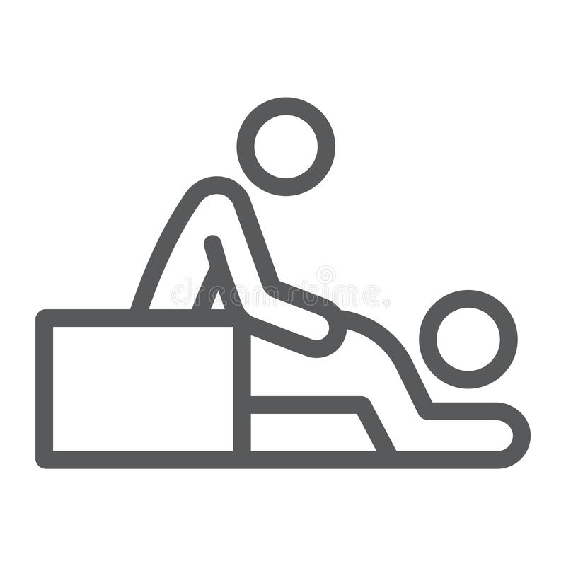 Línea icono del masaje, balneario y ocio, muestra del terapeuta, gráficos de vector, un modelo linear en un fondo blanco libre illustration