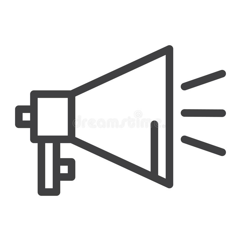 Línea icono del megáfono libre illustration