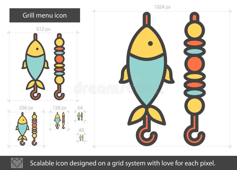 Línea icono del menú de la parrilla ilustración del vector