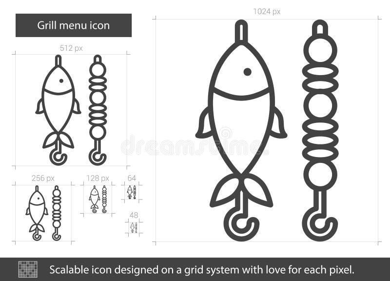 Línea icono del menú de la parrilla stock de ilustración