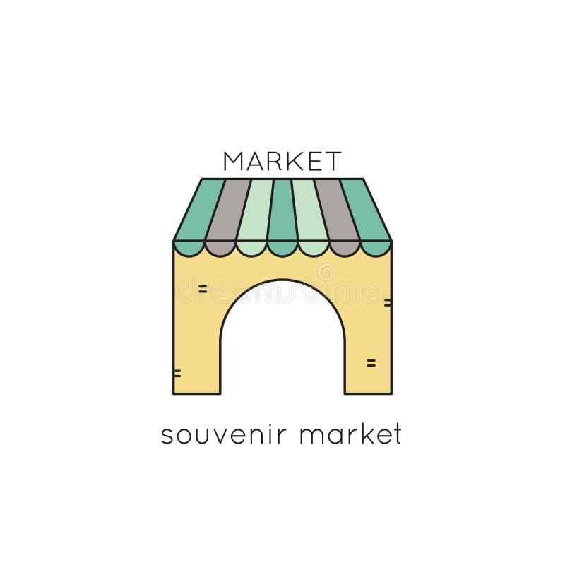 Línea icono del mercado del recuerdo stock de ilustración
