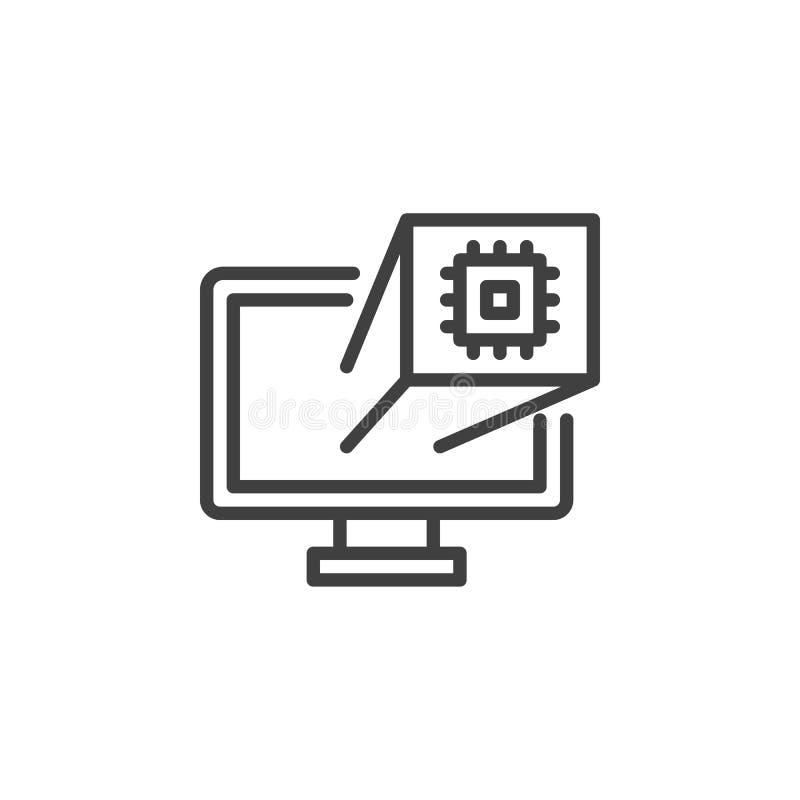 Línea icono del microchip de la CPU de la PC stock de ilustración