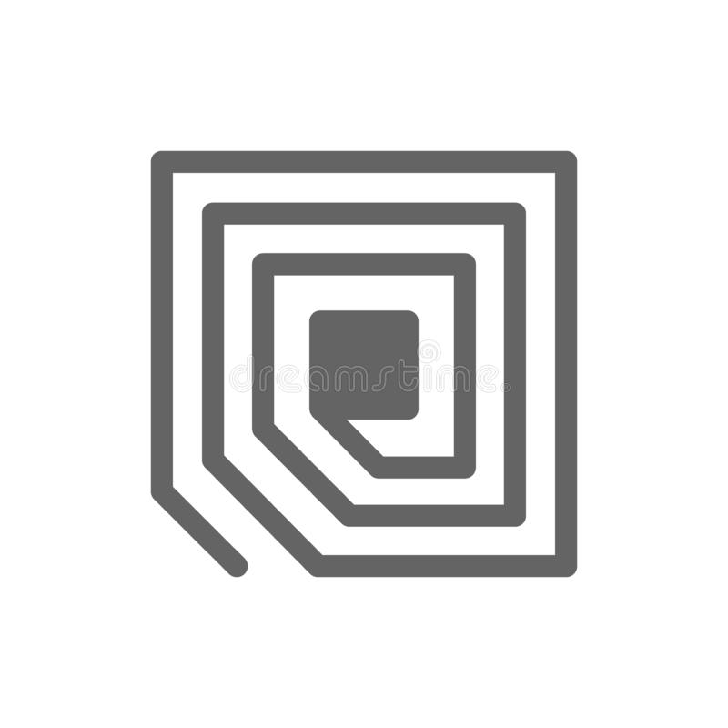 L?nea icono del microprocesador de la etiqueta del RFID libre illustration