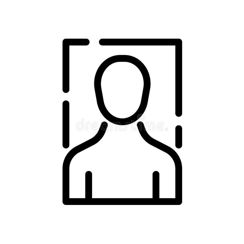 Línea icono del negro del avatar del perfil de usuario ilustración del vector