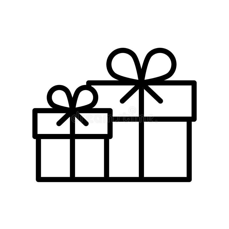 Línea icono del negro del paquete del regalo stock de ilustración