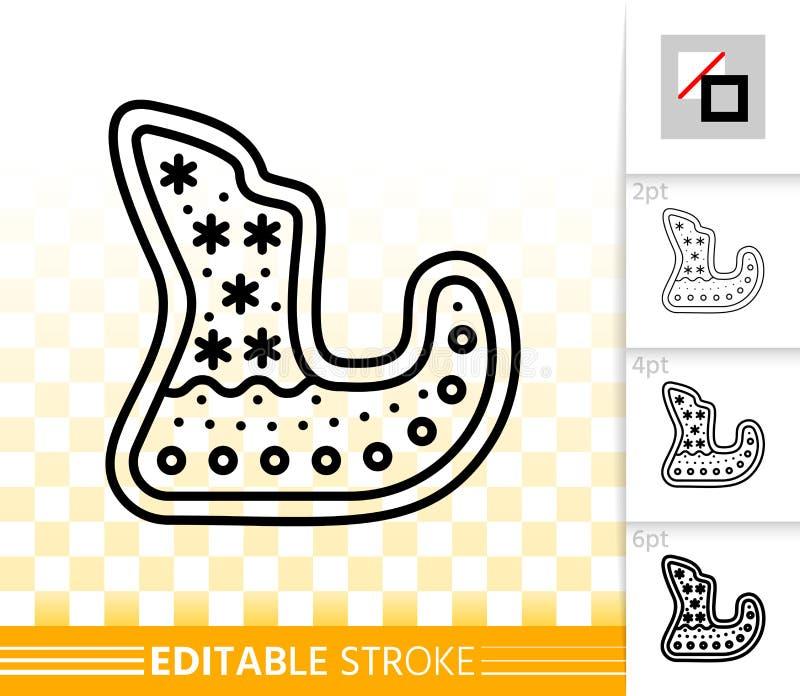 Línea icono del negro del trineo de la galleta del pan de jengibre del vector libre illustration