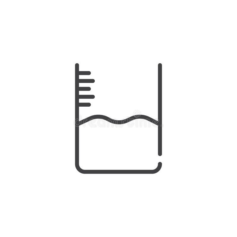 Línea icono del nivel del agua stock de ilustración